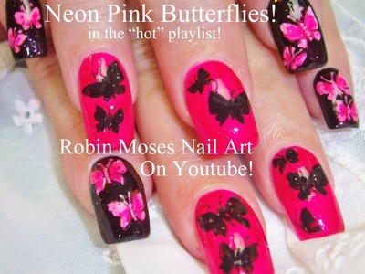 4 Nail Art Tutorials | DIY Mix N Match | Neon Pink & Black Butterfly Design