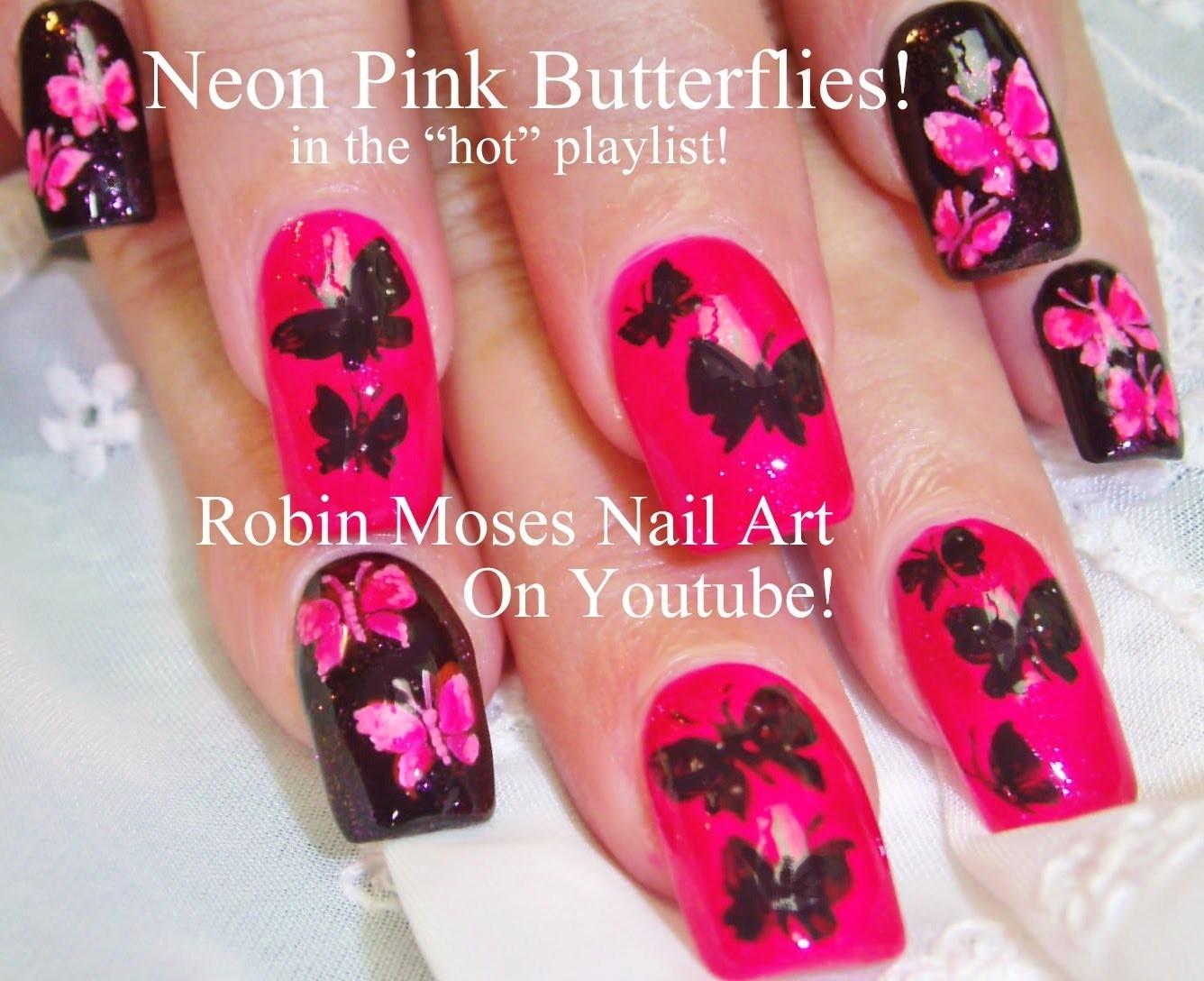 4 Nail Art Tutorials | DIY Mix N Match | Neon Pink & Black Butterfly Design
