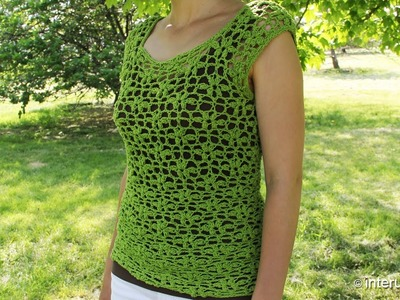 Crochet a women's lace summer blouse