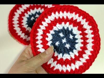 #Crochet Coasters 4th of July
