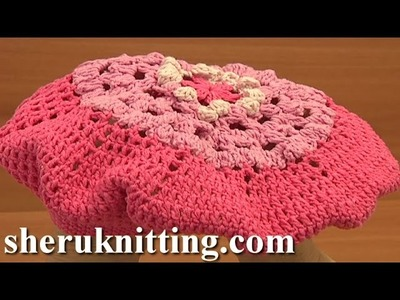 Crochet Flower Beret For Girls Tutorial 7 Part 2 of 2 Free Crochet Beret Hat Pattern