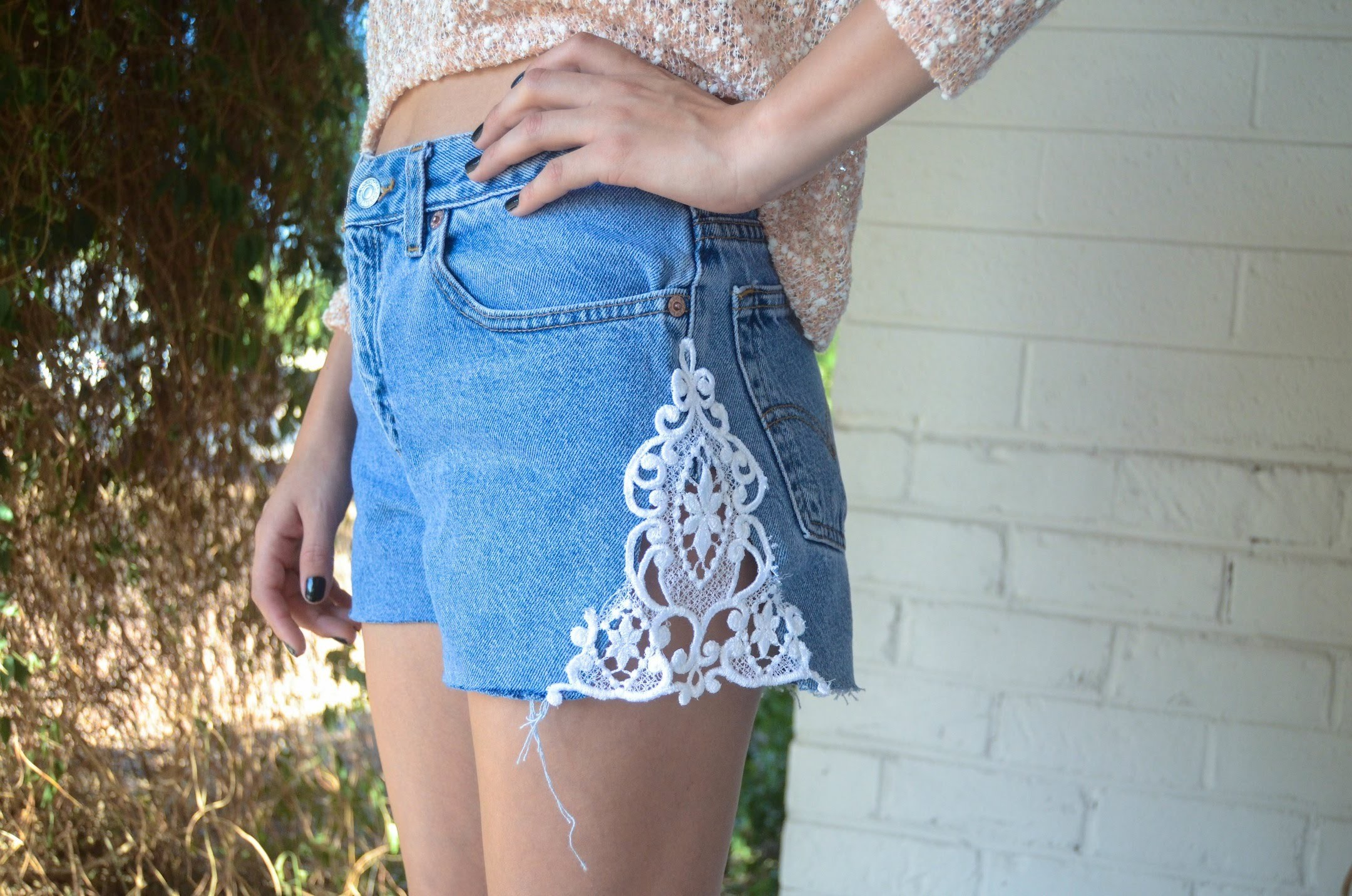 D.I.Y: Denim Lace Inset Shorts