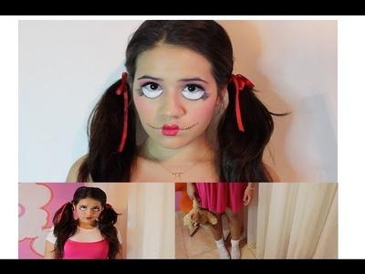 DIY Creepy Doll Halloween Costume + Makeup!
