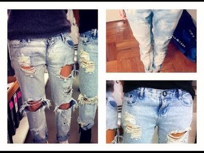 DIY: Distressed Boyfriend Jeans