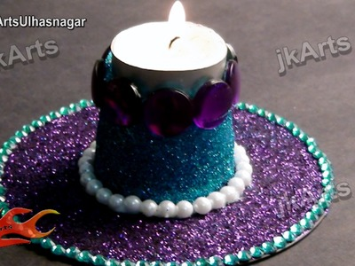 DIY Glitter Candle Holder - Best Out of Waste DVD and Plastic Glass -  JK Arts 409