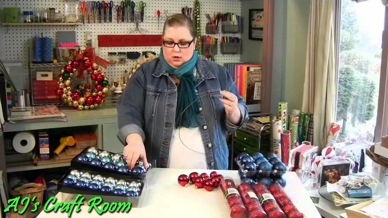 Dollar store Christmas Ornament Wreath - AJ's Craft Room  (Holiday Craft Idea)