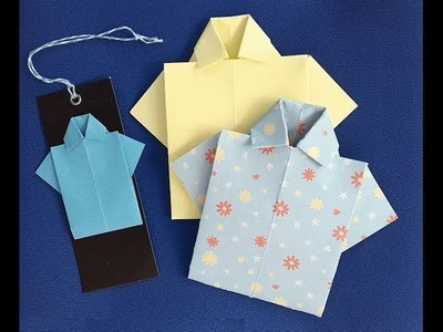 Father's Day giftcard: masculine card shirt origami short tutorial