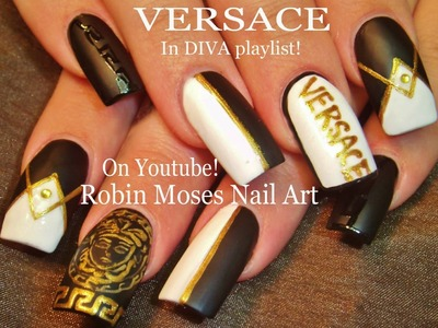 Nail Art Tutorial | DIY Matte Black & White Nails | Versace Diva
