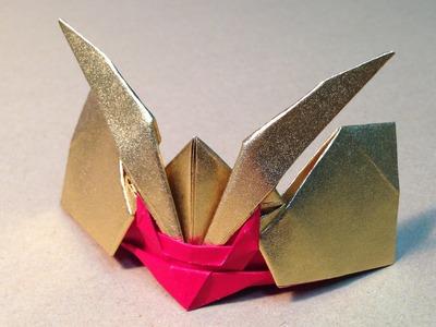 Origami Samurai Helmet Gold & Red. high speed