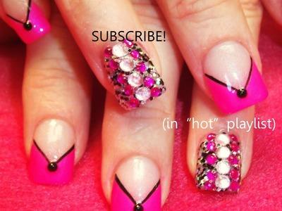 2 Nail Art Tutorials | DIY Chevron French Mani | Neon Pink & Black BLING Nails!