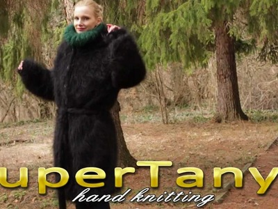 24.01.2013 Black hand knitted long and fuzzy mohair cardigan. coat with hood by SuperTanya