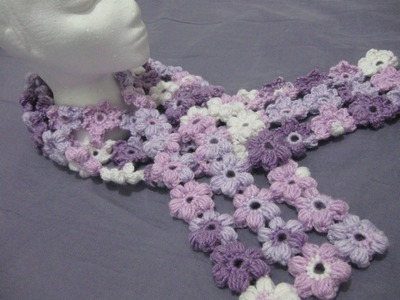Crochet Puff Stitch Flower Scarf - Left Handed Crochet Tutorial