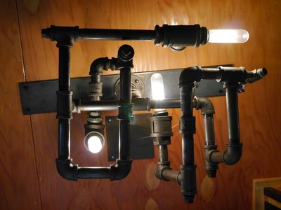 DIY STEAMPUNK-DieselPunk Modern Lamp.Light- w.recycled pipe fittings