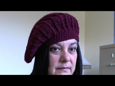 How to crochet beret - slouchy beanie video 3