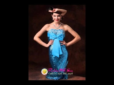 Paillette Over Skirt Bowknot 2013 Celebrity Gowns with Beading Custom