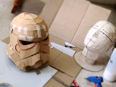 #75: Stormtrooper Helmet DIY Part 1 - Cardboard, Face, Jaw, Chin (free template)