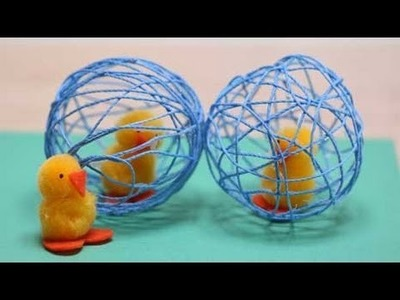 Chicken and String Egg Easter Crafts