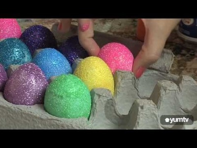Decorate and Display DIY Glitter Eggs for Easter!