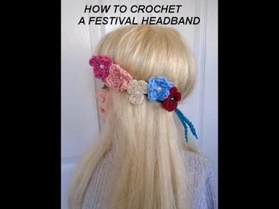 FESTIVAL CROCHET HEADBAND FLOWER CROWN, headpiece, how to diy