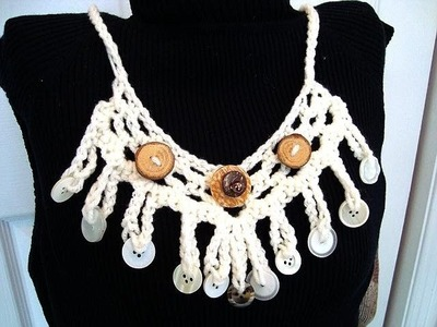 How to CROCHET A BUTTON NECKLACE, accessories, jewelry, fiber art, recyle
