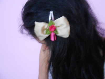 How To Make Flower Hair Clip At Home-DIY Bow Hair Floral Clip. Tutorial