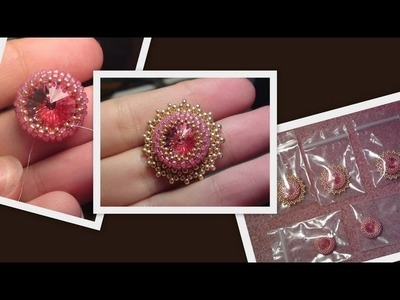 Iceflower bracelet with Swarovski rivoli part 1 Beading Tutorial by HoneyBeads1 (Photo tutorial)