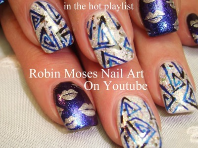 Nail Art Tutorial | DIY Geometric Nail Design | Silver and blue lips!