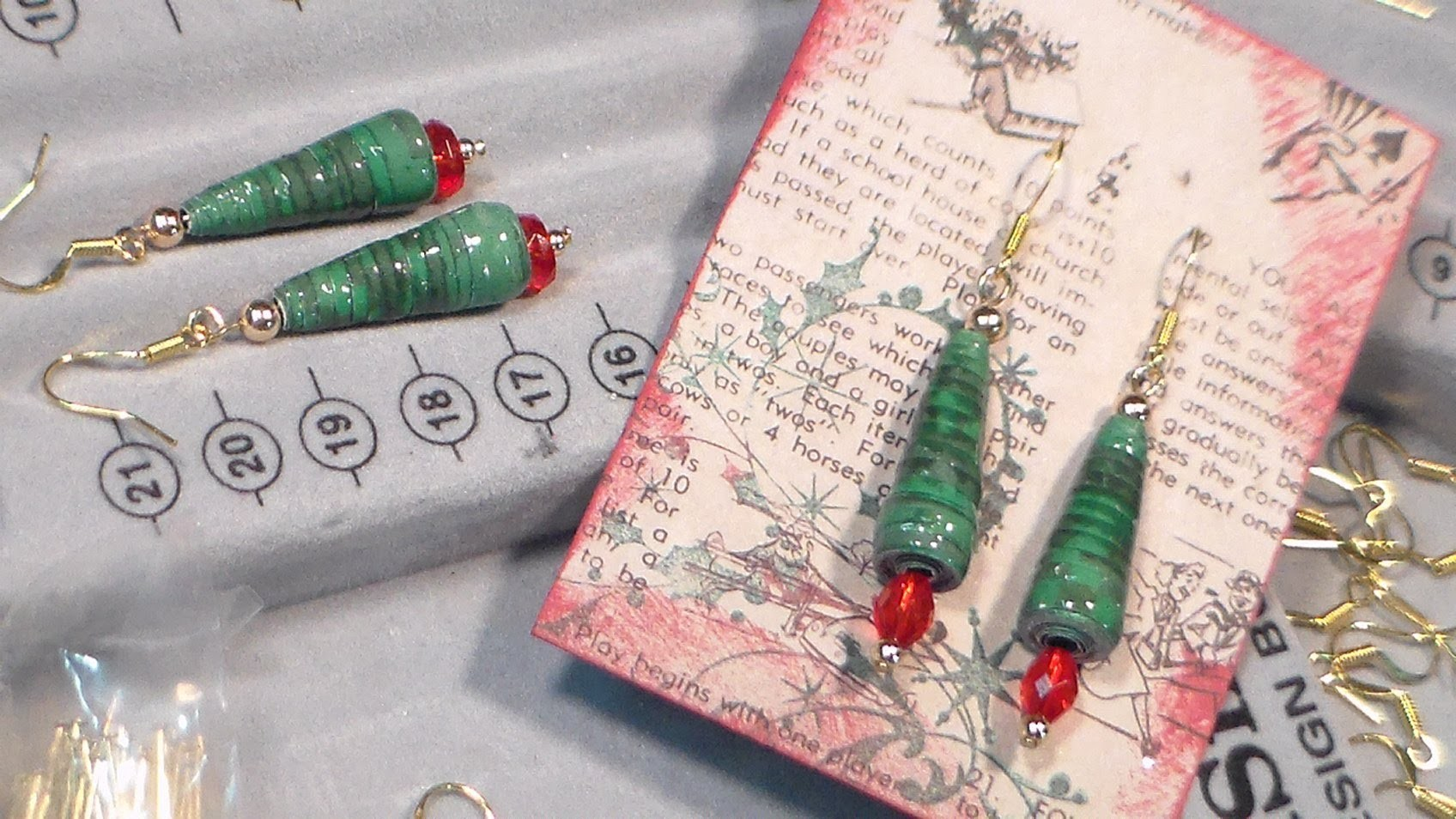 Paper bead xmas tree earrings