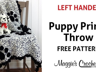 Puppy Prints Afghan Free Crochet Pattern - Left Handed