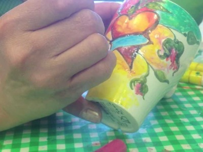 Arts and crafts tips; ceramic painting on IKEA mugs for IKEA children's holiday activities.