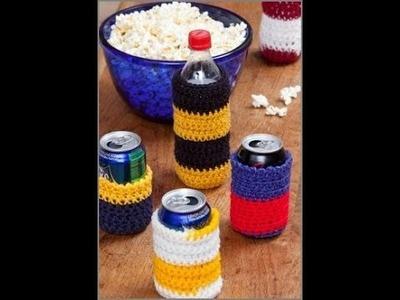Crochet Can Cozies - Crochet Can Cozy - Crochet Red Heart Pattern LW2976