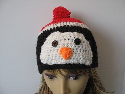 Crochet Penguin wearing beanie hat
