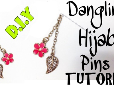 DIY Hijab Accessories #2: Dangling Pin Hijab Tutorial in 3 minutes! [hijabdiariesxo]