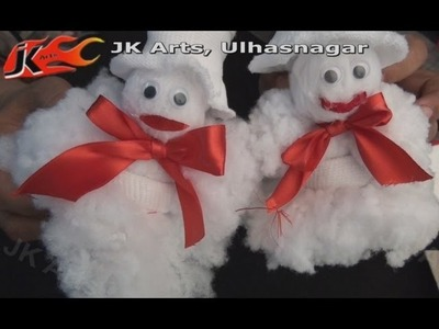 DIY How to make Christmas Snowman from a pair of Socks - JK Arts 027