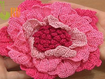 Flower to Crochet Tutorial 62 Part 3 of 3 Crochet Third Layer Of Large Petals