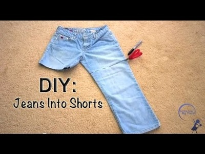 How To: Cut Denim Jeans Into Shorts DIY Easy Cuffs and Cut Offs with White Threads