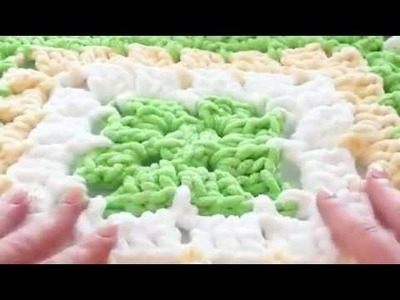 Marshmallow Bernat Baby Blanket How to Crochet -Granny Aquare Blanket P5
