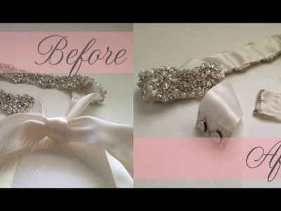 "Restyle a ""Tie"" Bridal Sash to a ""Hook & Eye"" Closure"