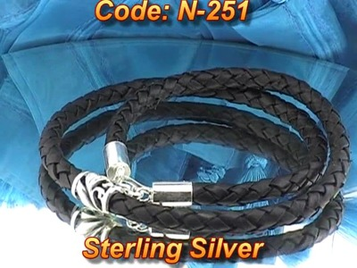 Sterling Silver Beads NEW Men Leather Necklace N-251