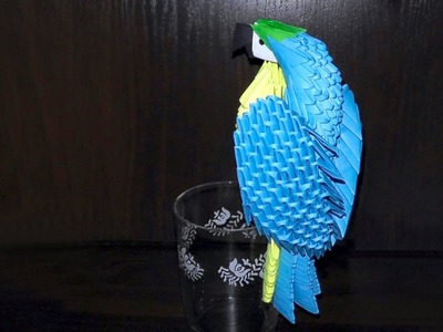 3D origami blue-and-yellow macaw parrot tutorial (instruction)
