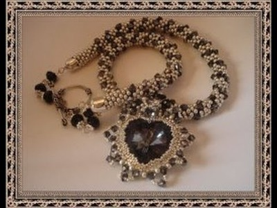 Bead crochet necklace swarovski heart and bicone crystal