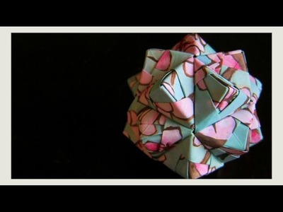 DIY - Origami Ball - New Year's Decoration Ornament - Icosahedron (Sonobe Unit, Modular Origami) 3D