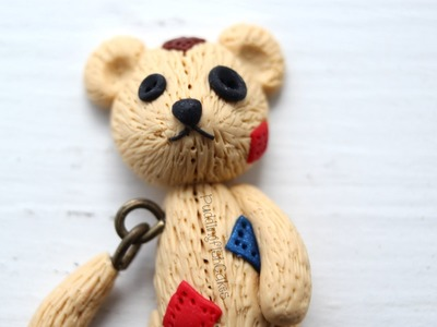 Halloween DIY: Broken Teddy Bear Dangling Polymer Clay Miniature Charm Stop Motion Tutorial