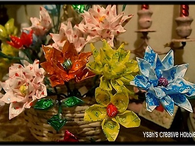 How to make Flowers out of Candy Wrappers.