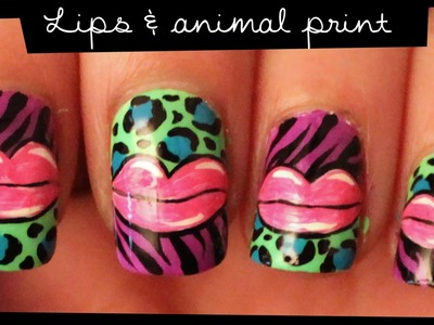 Lips & Animal Print nail art