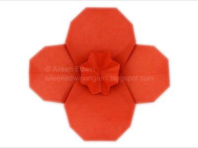 Origami Poppy (Aileen Edwin) Video Tutorial *HD*