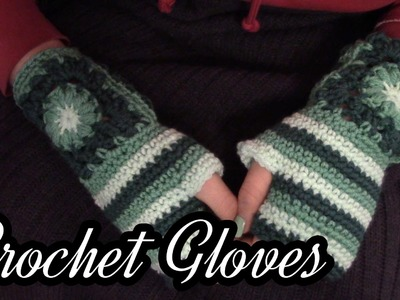 Crochet Granny Square Fingerless Gloves Tutorial