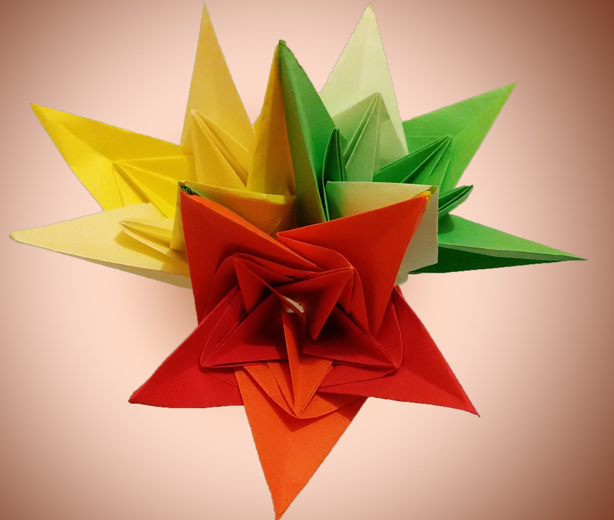 DIY origami flower - paper bells . Bouquet for Easter. Holiday Room decoration
