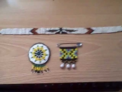 Native North American Indian Bead Work 2 Brooch type pins and a Beaded Choker