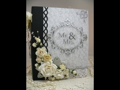 Beautiful Monochromatic Keepsake Wedding Scrapbook Mini Album